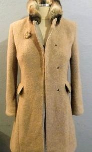 Ermanno Scervino Fur Trimmed Cream Coat